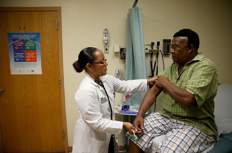 Immigrants with legal status can apply for health care.