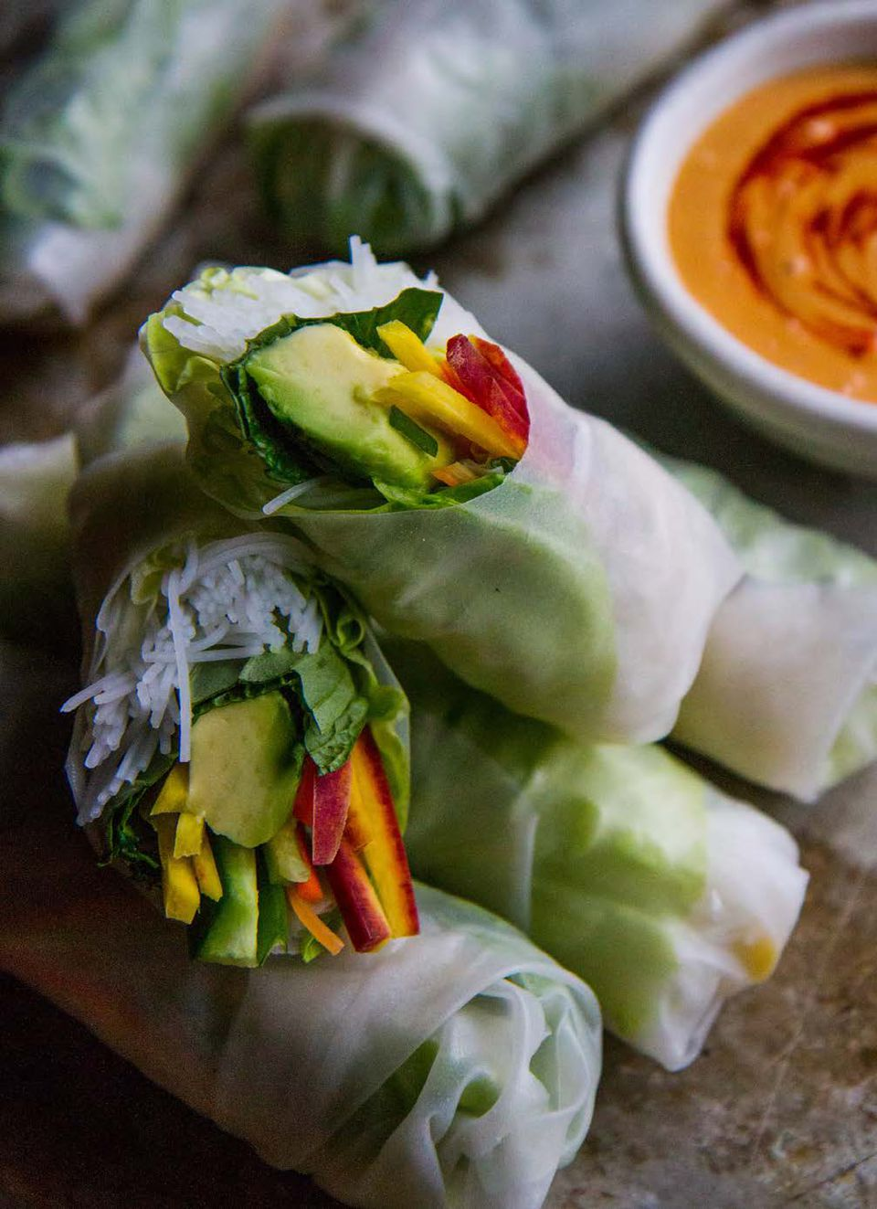 Veggie Summer Rolls with Spicy Sunflower Butter Dipping Sauce