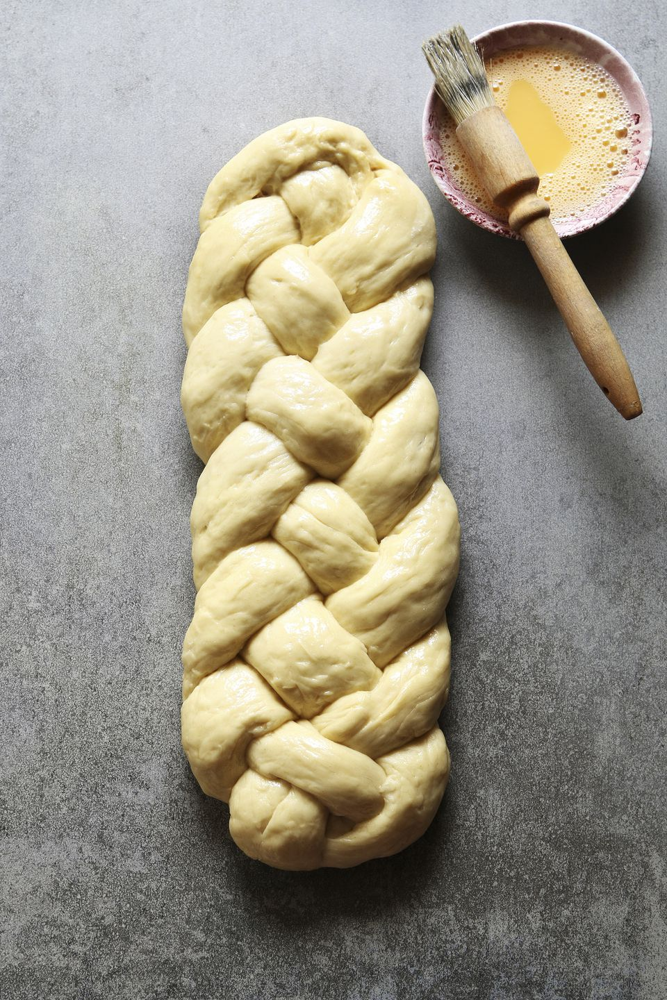 Braided Challah bread dough