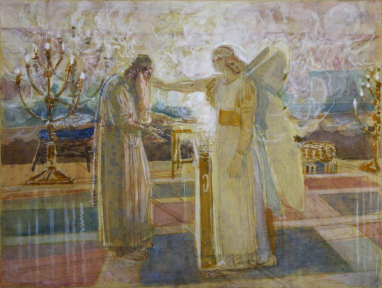 Archangel Gabriel strike Zacharias dumb, End 1840s. Artist: Ivanov, Alexander Andreyevich (1806-1858)