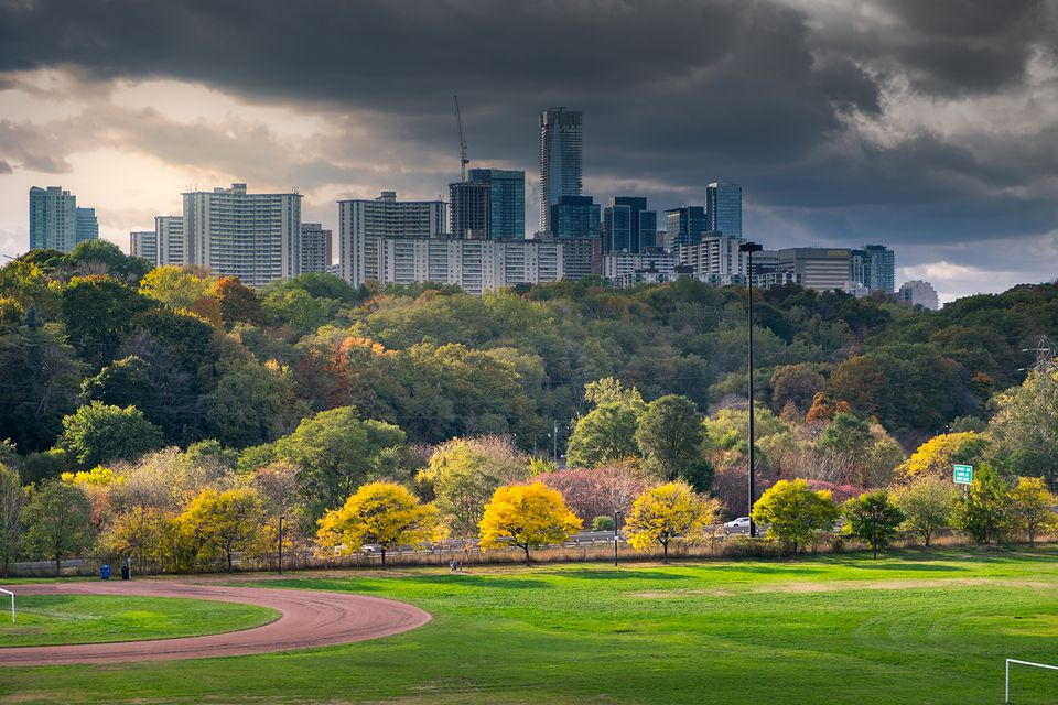 Riverdale park before sunset and buildings from Yonge and Bloor