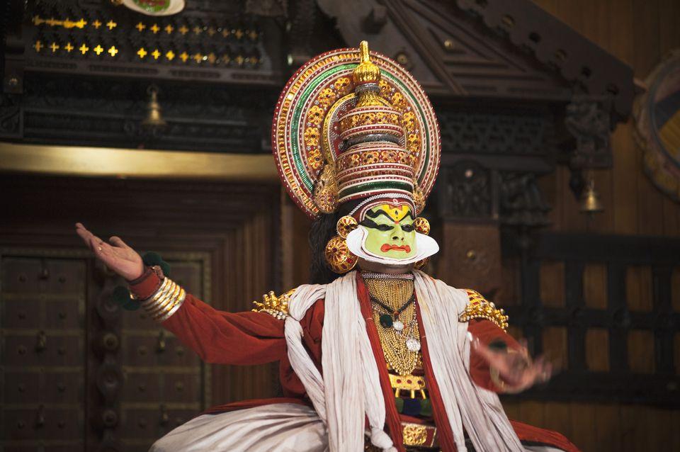 Man performing Kathakali dance, Kochi, Kerala