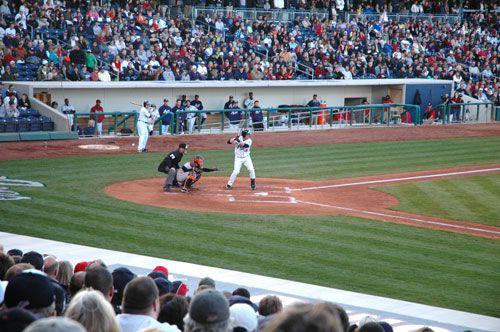 Baseball fans get close to the game at Reno Aces Ballpark in Reno, Nevada, NV