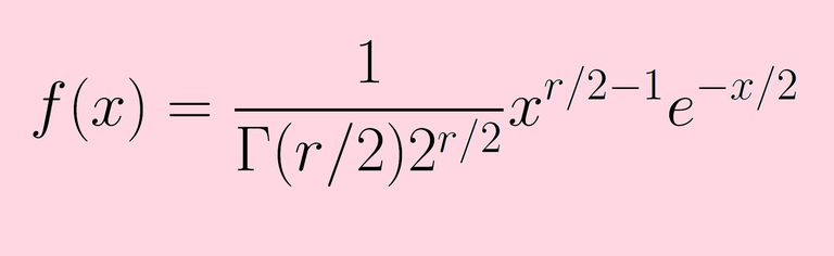 Probability density function for chi-square distribution with r degrees of freedom.
