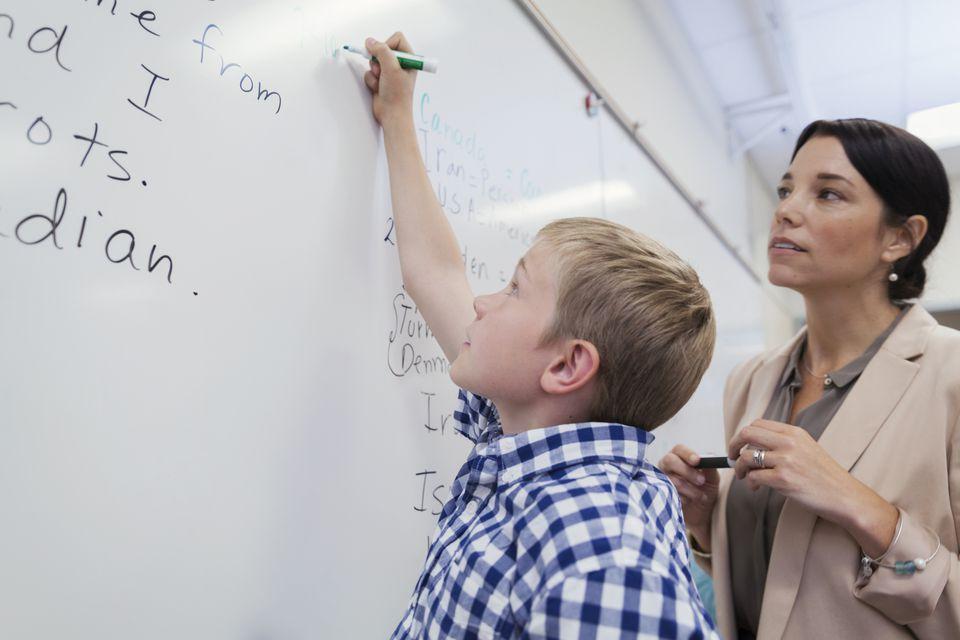 A teacher teaching English.