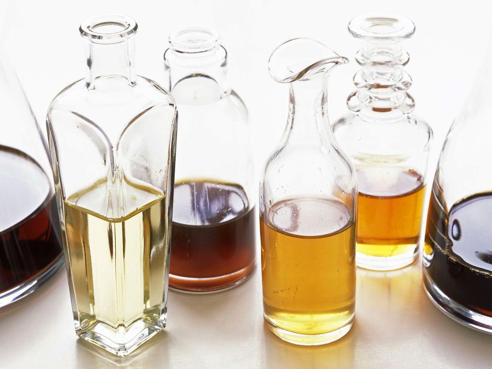 Assorted vinegars in bottles