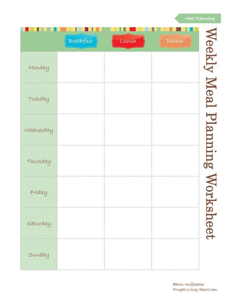 Use food planners to save money for Home plan weekly