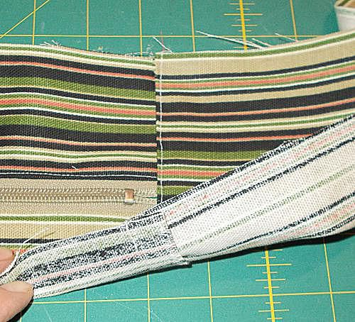 Creating the side and zipper section of a durable bag