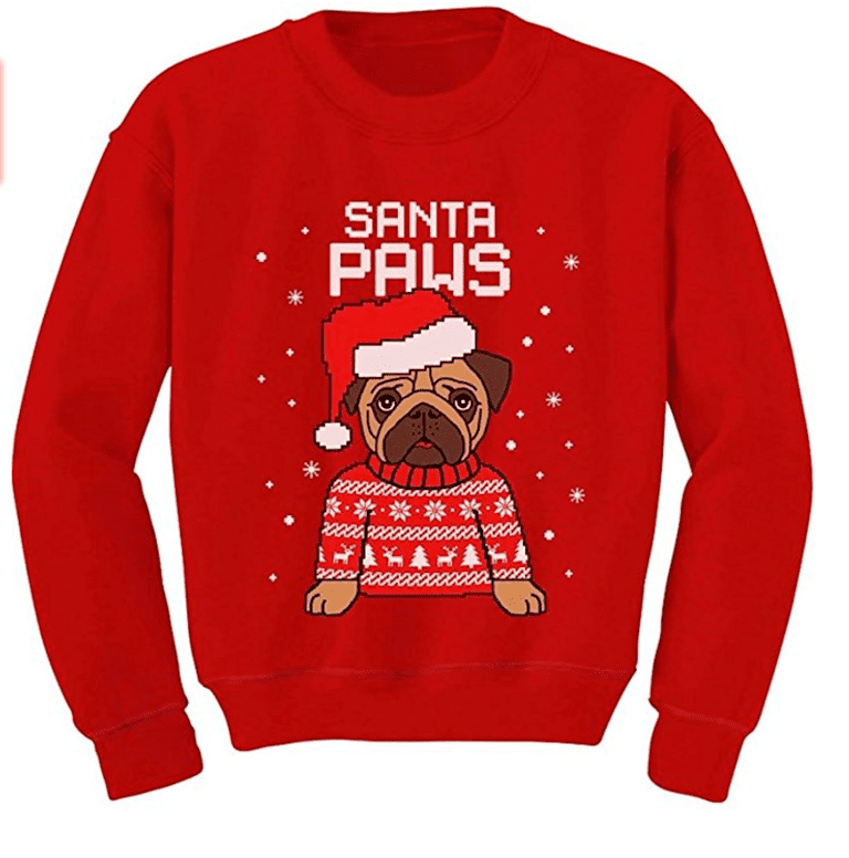 teestars santa paws pug ugly christmas sweater dog toddler sweatshirt amazoncom - Ugly Christmas Sweater Amazon