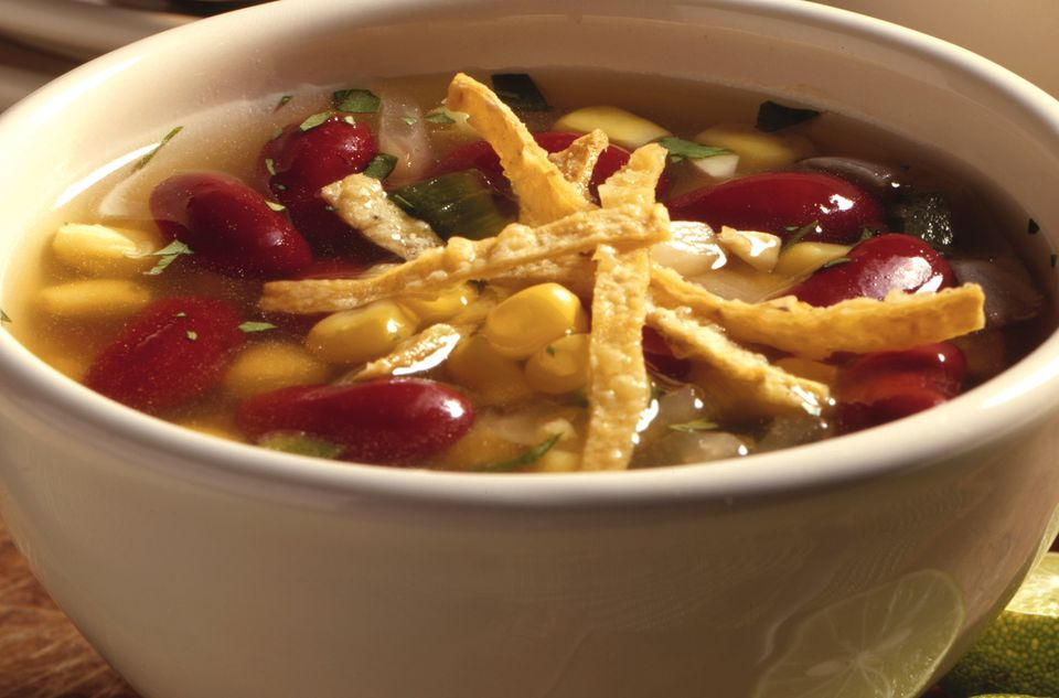 Vegetarian tortilla soup with red kidney beans
