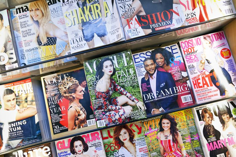 Popular magazines on newsstand