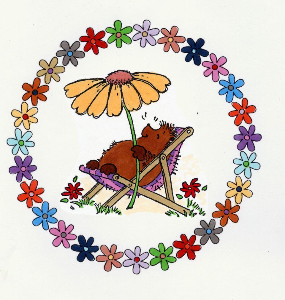 Flower Frame with Rubber Stamped Image (Stamp: Penny Black)