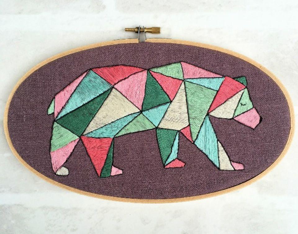 Geometric Bear Embroidery Pattern