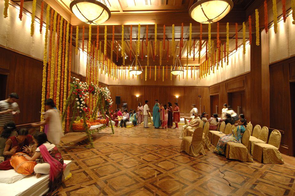 Decorations at a Indian Marwari wedding in Goa, India.