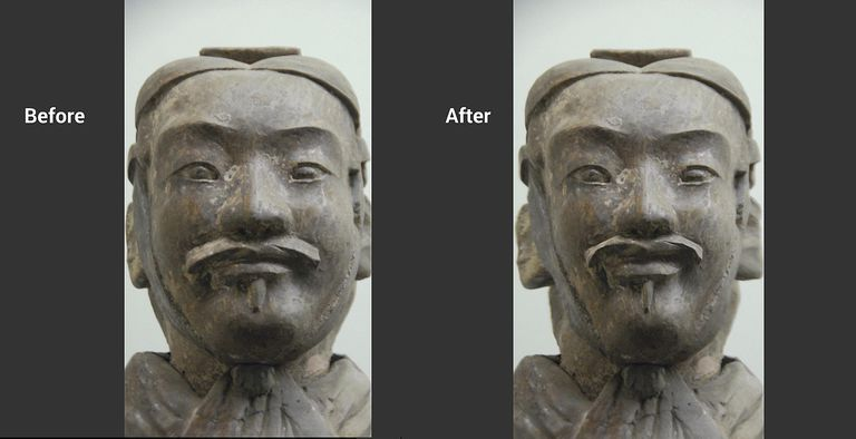 before and After images of the Faces effect applied to a Terra Cotta Warior photo.