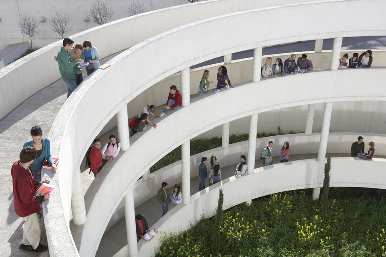 Students standing on walkways at university, elevated view