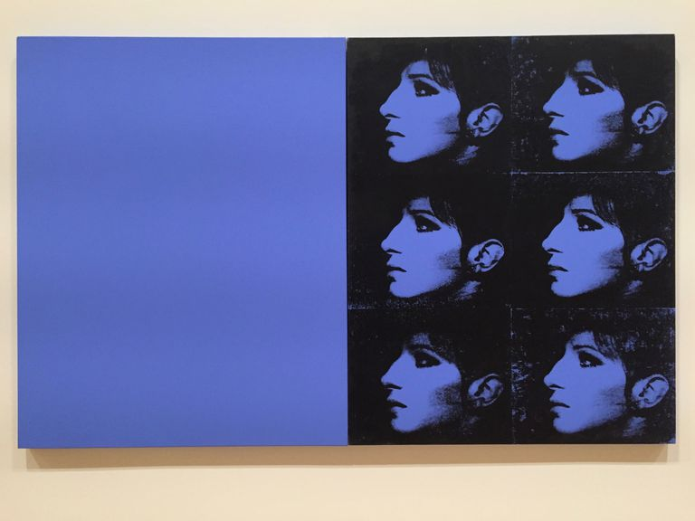 Silkscreen Painting by Deborah Kass titled Double Blue Barbra