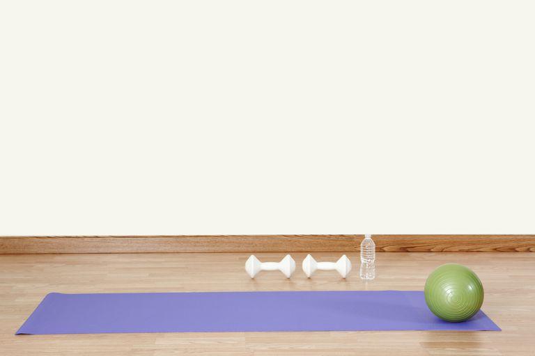 Exercise ball and yoga mat