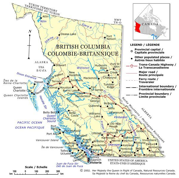 Map Of Natural Resources In British Columbia