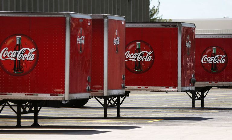 Coca-Cola trucks lined up