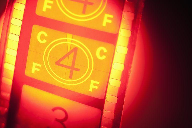 Film reel in spotlight