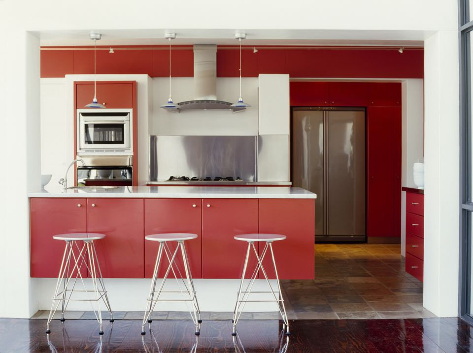 A Balanced Red Colour Kitchen