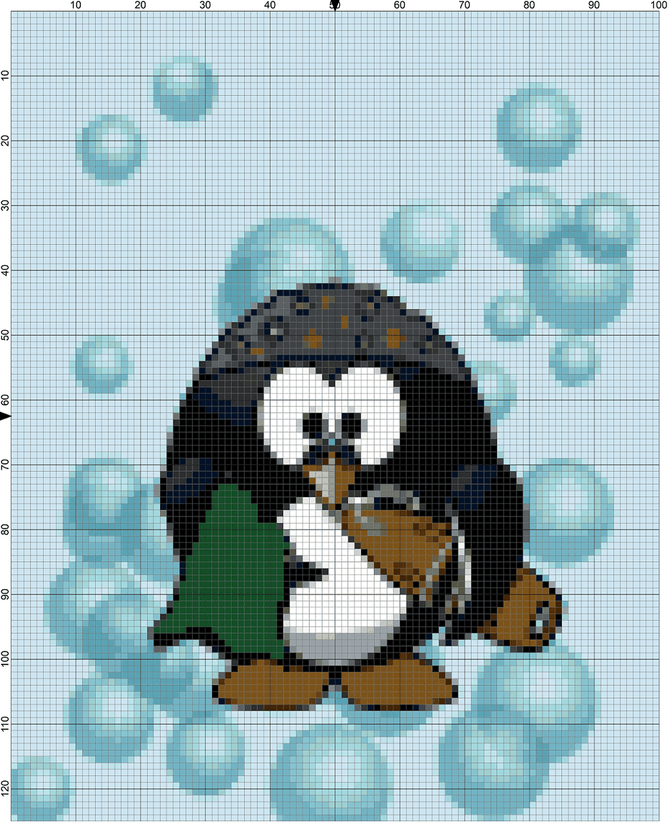 swimming penguin needlepoint chart