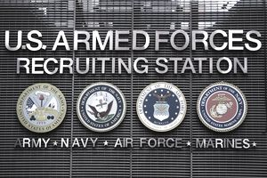 US Armed Forces Recruiting Station sign in Times Square.