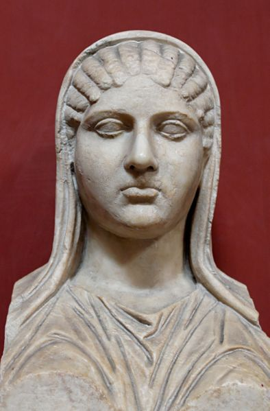 Marble bust of Aspasia of Miletus from the Musei Vaticani.