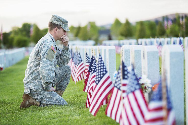 Soldier kneeling at grave