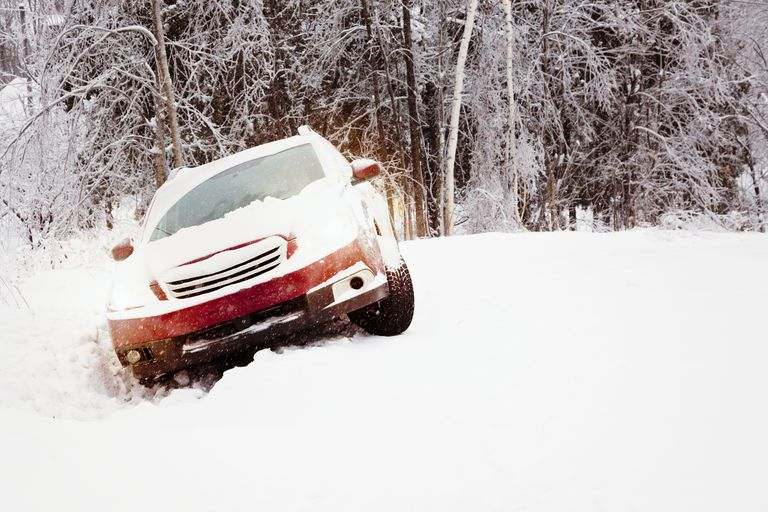 Winter snow accident car in a ditch