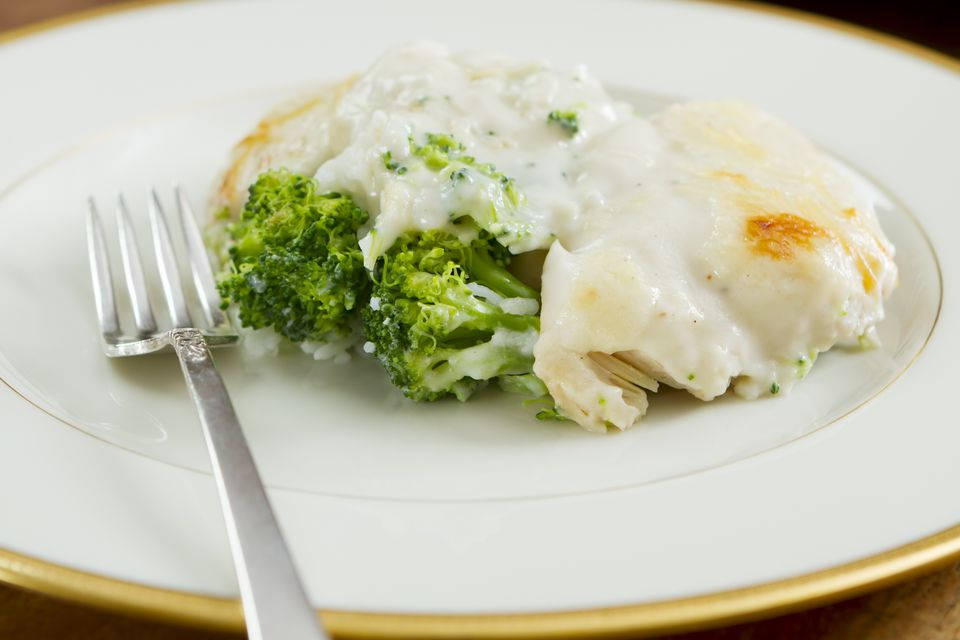 chicken cream sauce with Broccoli and Rice