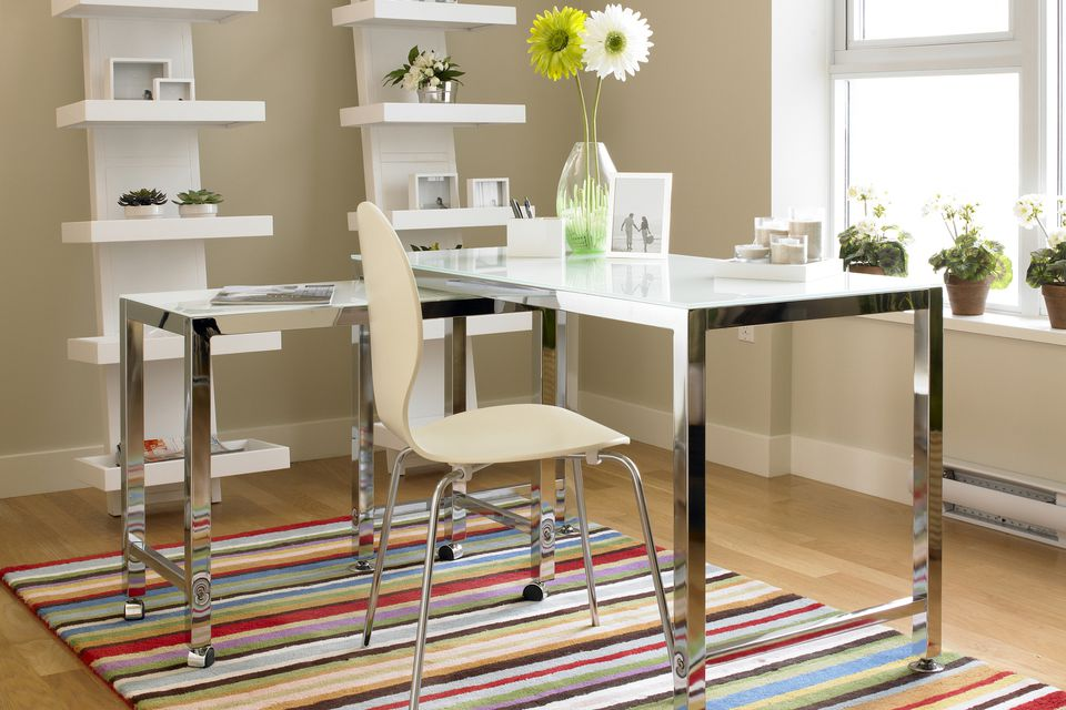 Colorful striped carpet in home office