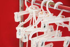Close up of plastic hangers