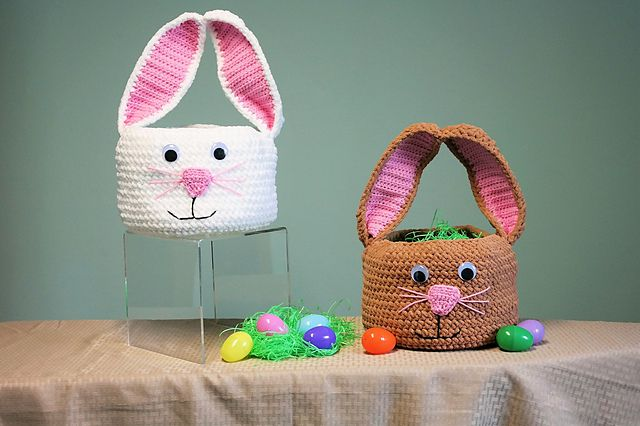 15 bunny crochet patterns for easter crochet easter bunny baskets ccuart Choice Image