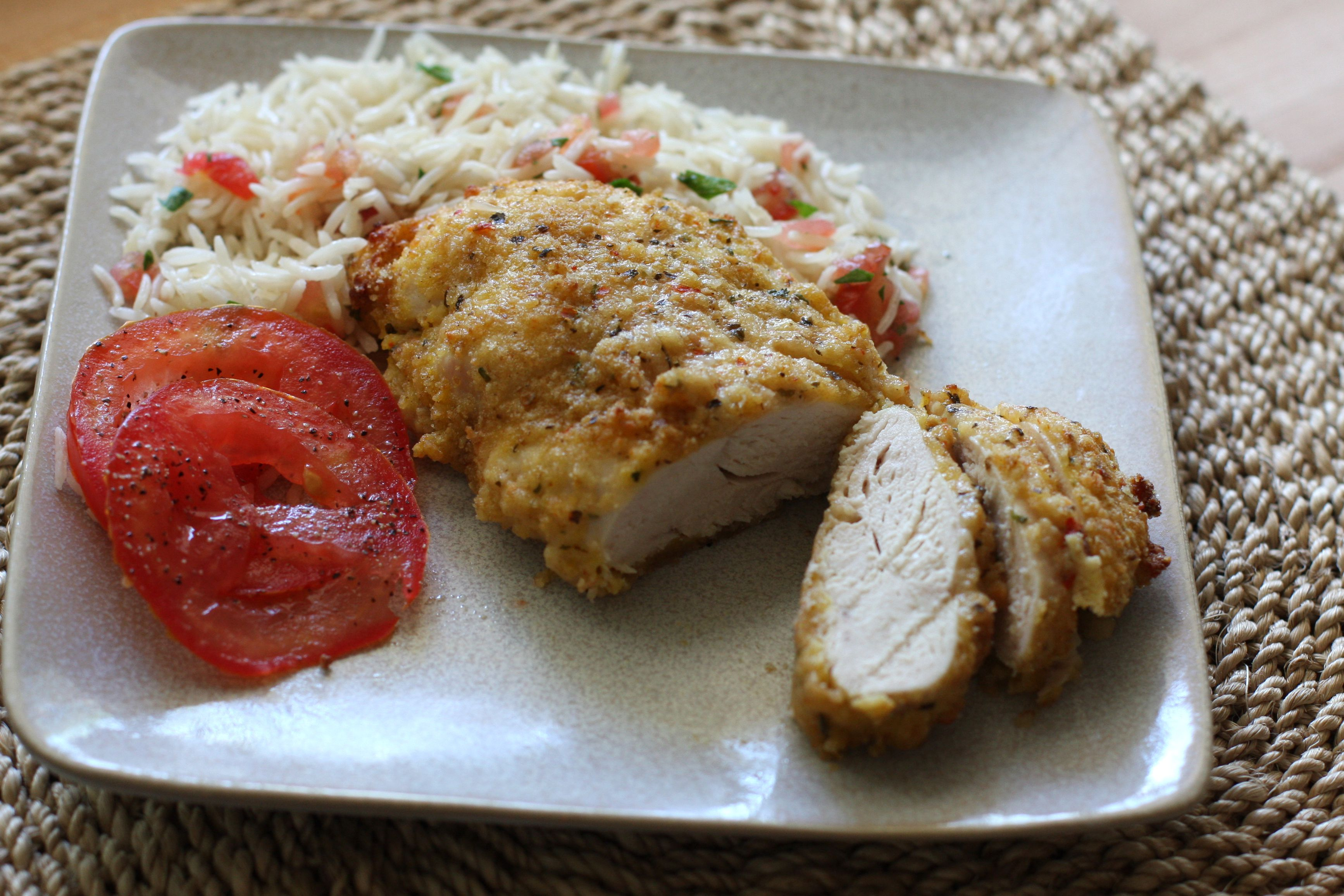 Oven Fried Parmesan Chicken Recipe With Garlic