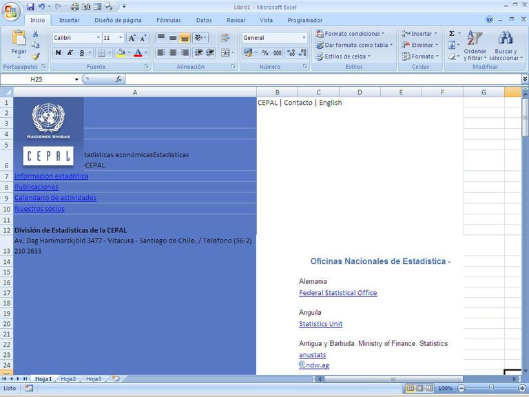 Sitio Web para pasar a Excel