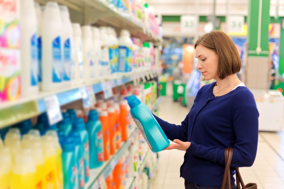 Woman buying laundry detergent