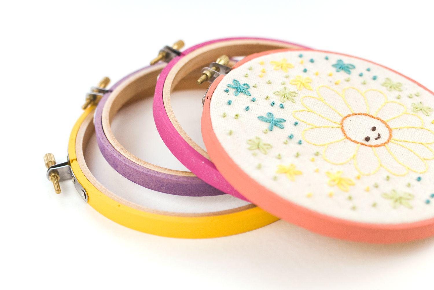 How to paint embroidery hoops for framing
