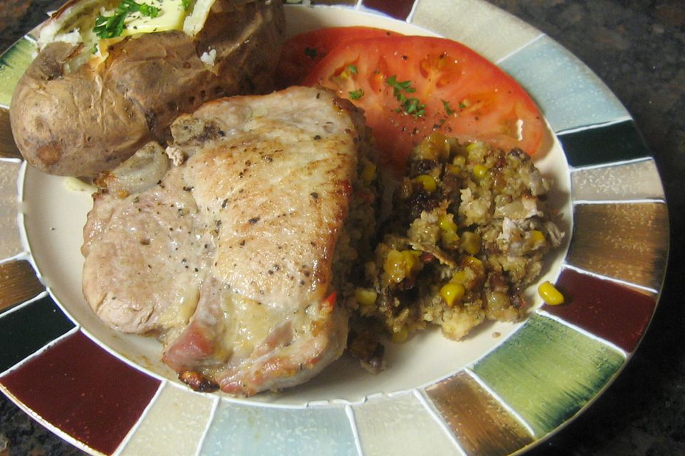 Cornbread Stuffed Pork Chops