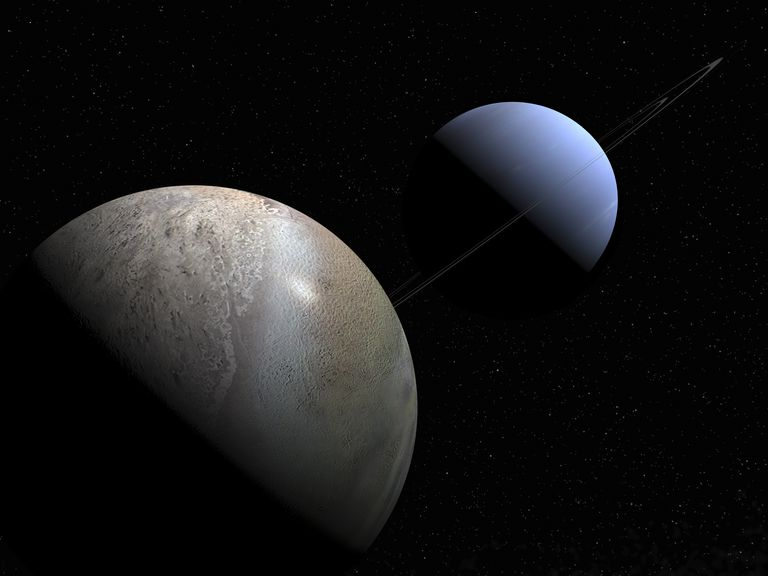 Illustration of the gas giant planet Neptune and its largest moon Triton.