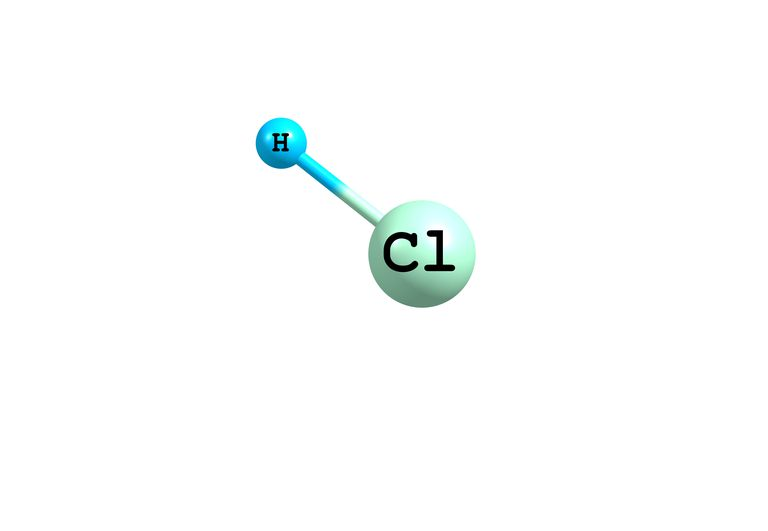 This is a molecular model of muriatic acid, HCl. Muriatic acid typically is sold as a colorless liquid.