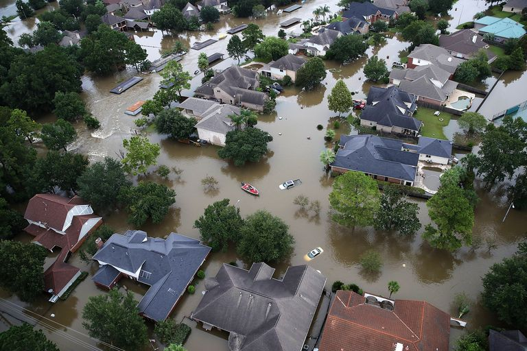 Flooded neighborhood in in Houston, Texas after Hurricane Harvey