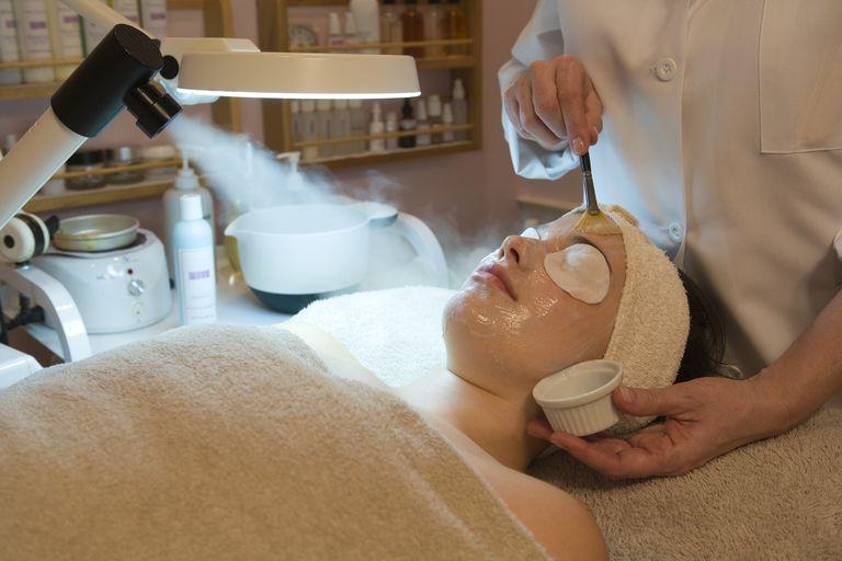 Woman having a chemical peel treatment