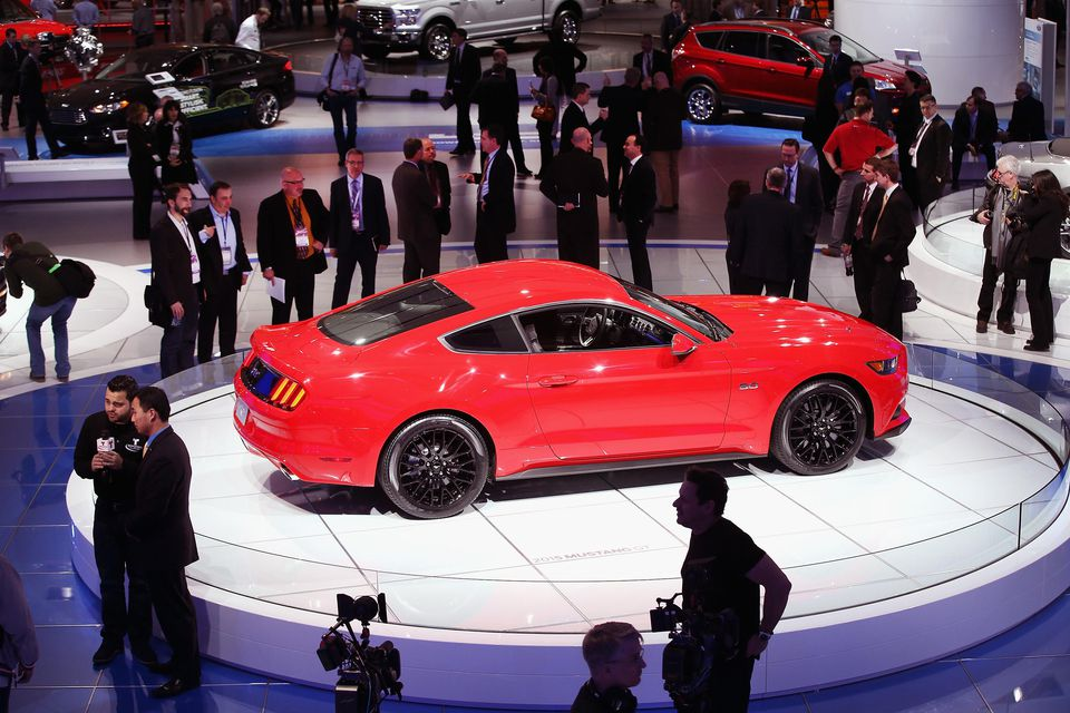 Ford displays the 2015 50th anniversay Mustang at the North American International Auto Show (NAIAS) on January 14, 2014 in Detroit, Michigan. The auto show opens to the public January 18-26.