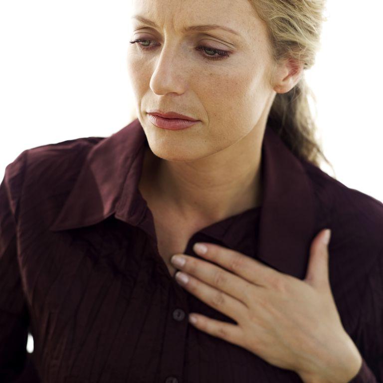 Woman having esophageal spasms.