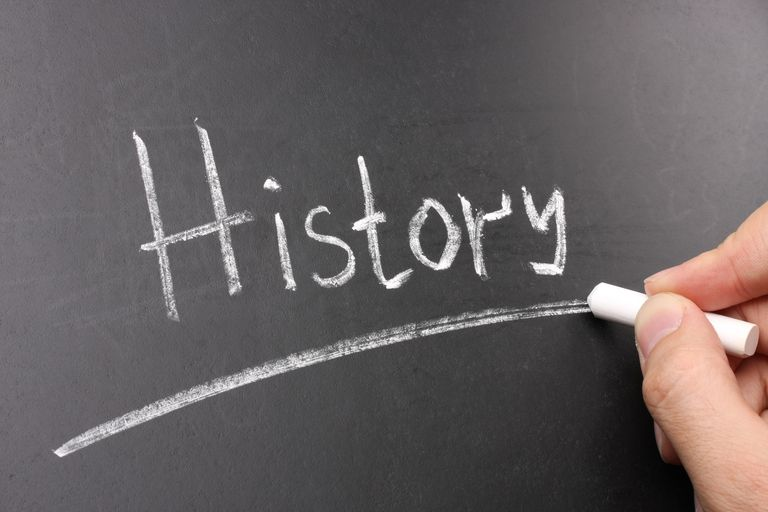 History Chalk Text on Blackboard