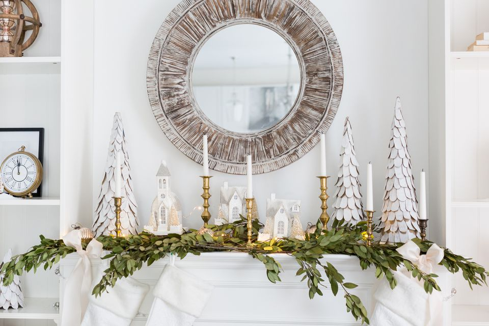 Perfect Christmas Mantel. natural simplicity. christmas mantel decorating ideas martys musings. flower power. perfect christmas mantel. a faux snowy garland and wreath with lights