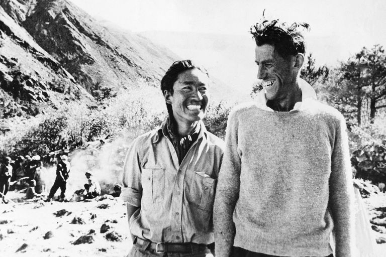 Tenzing Norgay and Edmund Hillary photographed after their return from the successful climb. Bettmann / Contributor / Getty Images