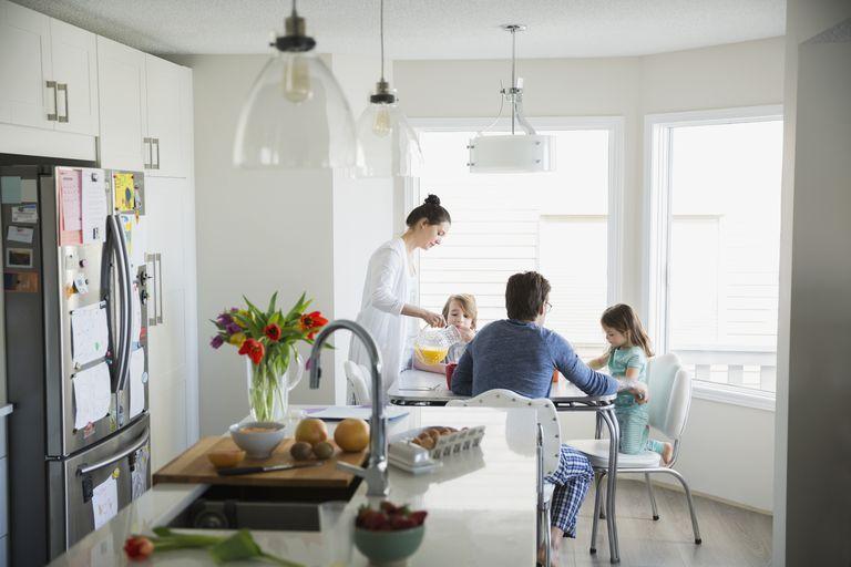 Family in pajamas enjoying breakfast in breakfast nook